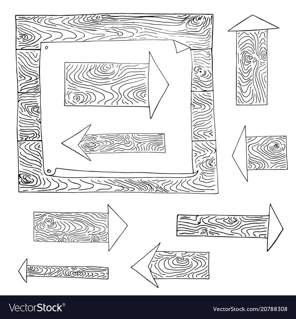 Set arrow scetch wood texture vector image