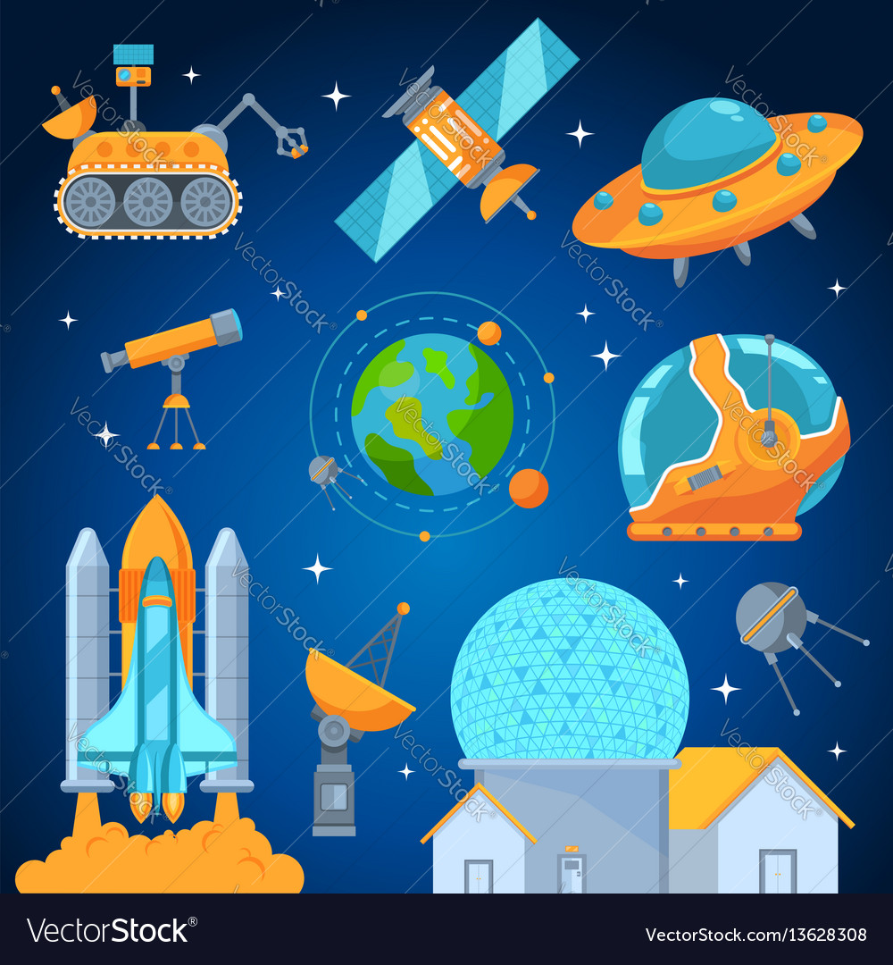 Space icons set flat style