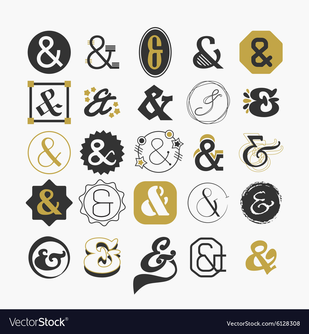 Stylized Ampersand Sign And Symbol Design Elements