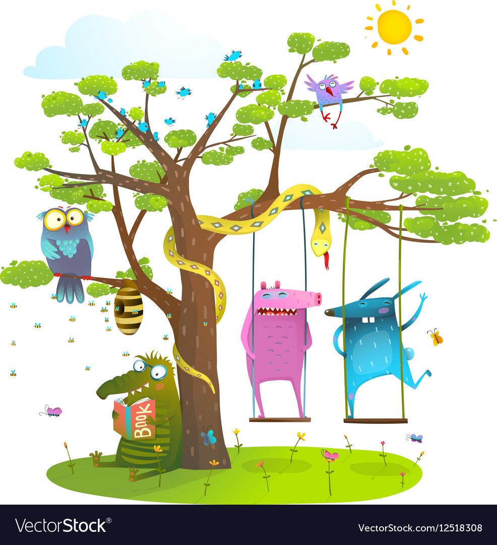 Tree friends animals birds monsters bees in sunny