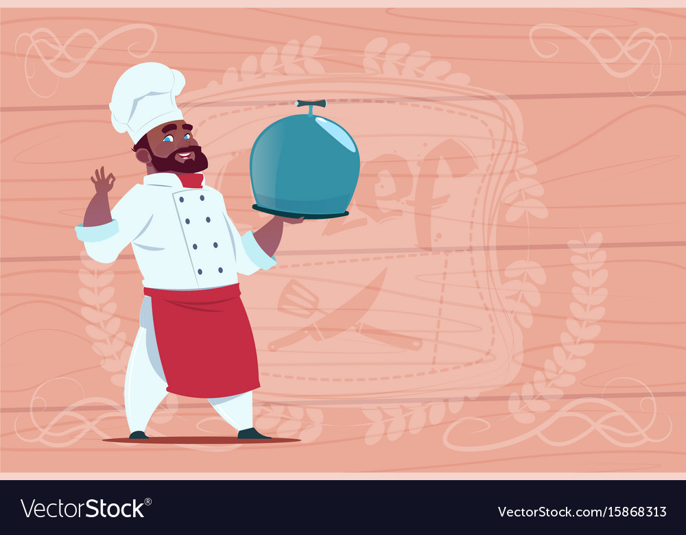 African american chef cook holding tray with dish