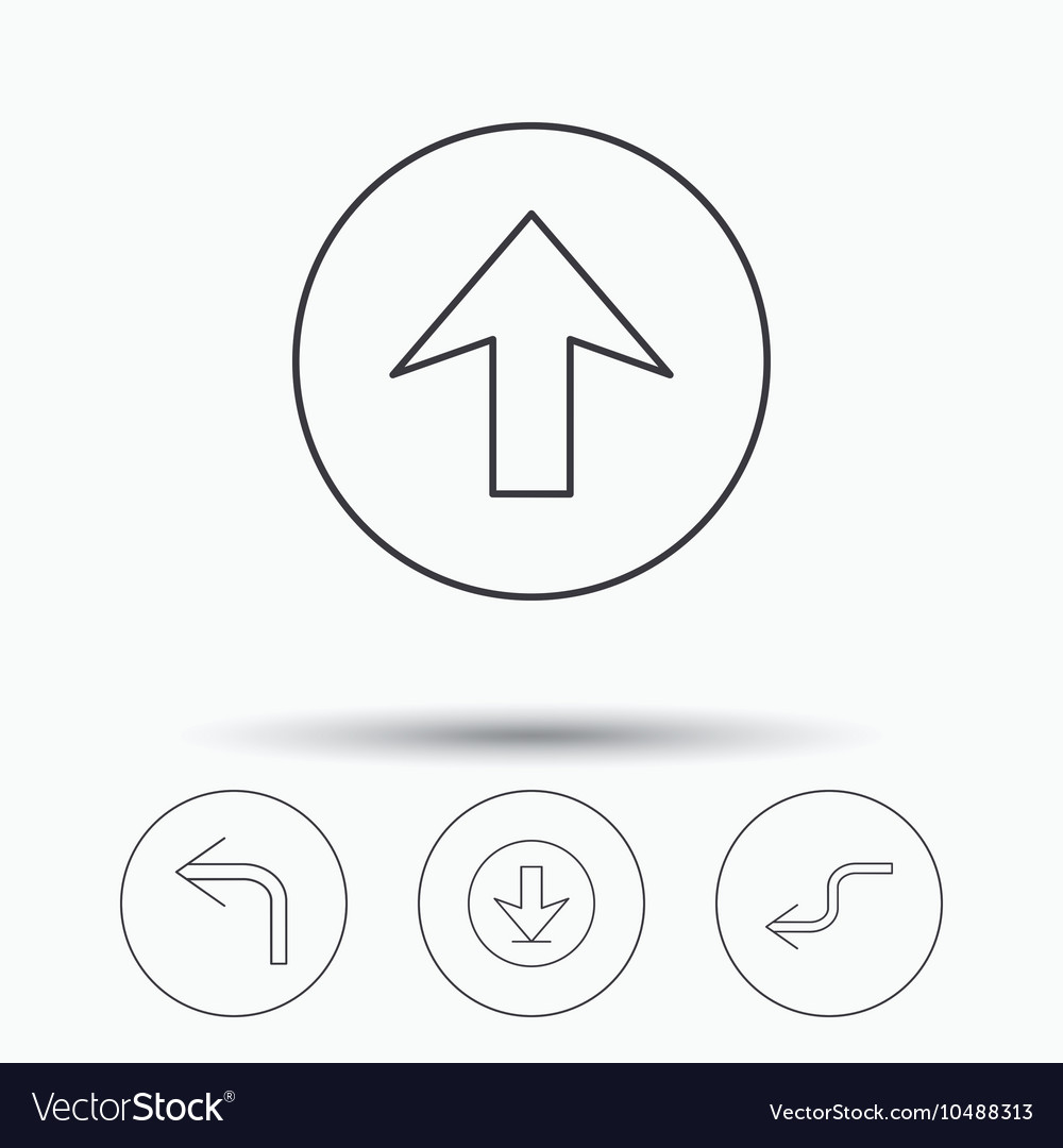 Arrows icons Download upload linear signs