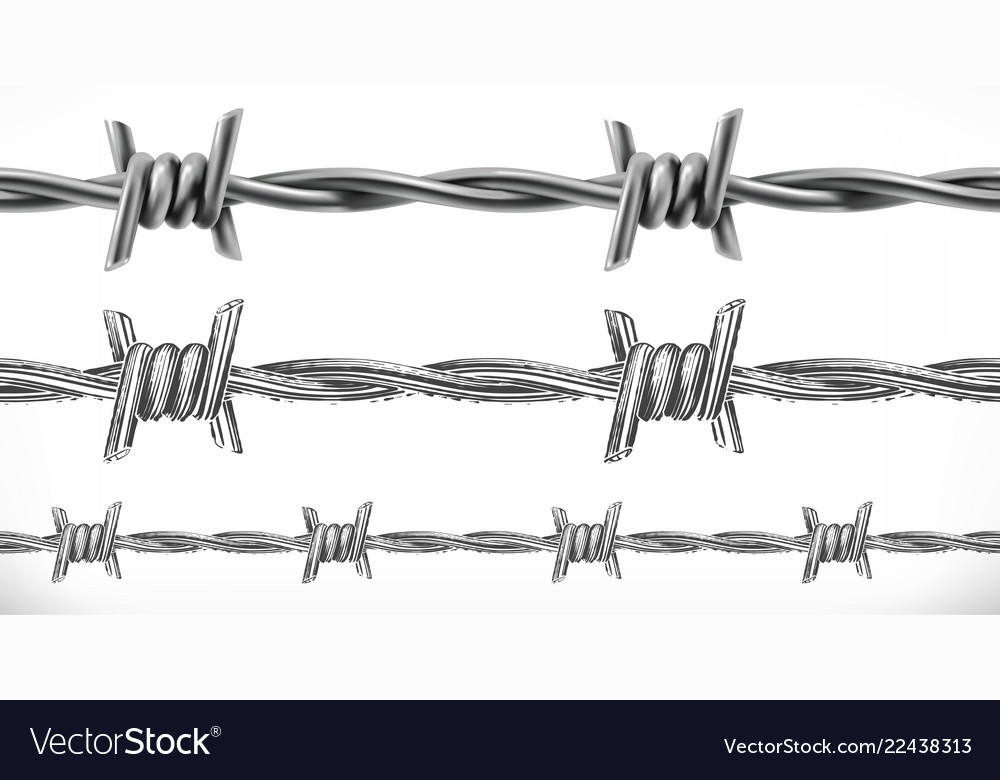 Barbed wire seamless 3d and engraving styles