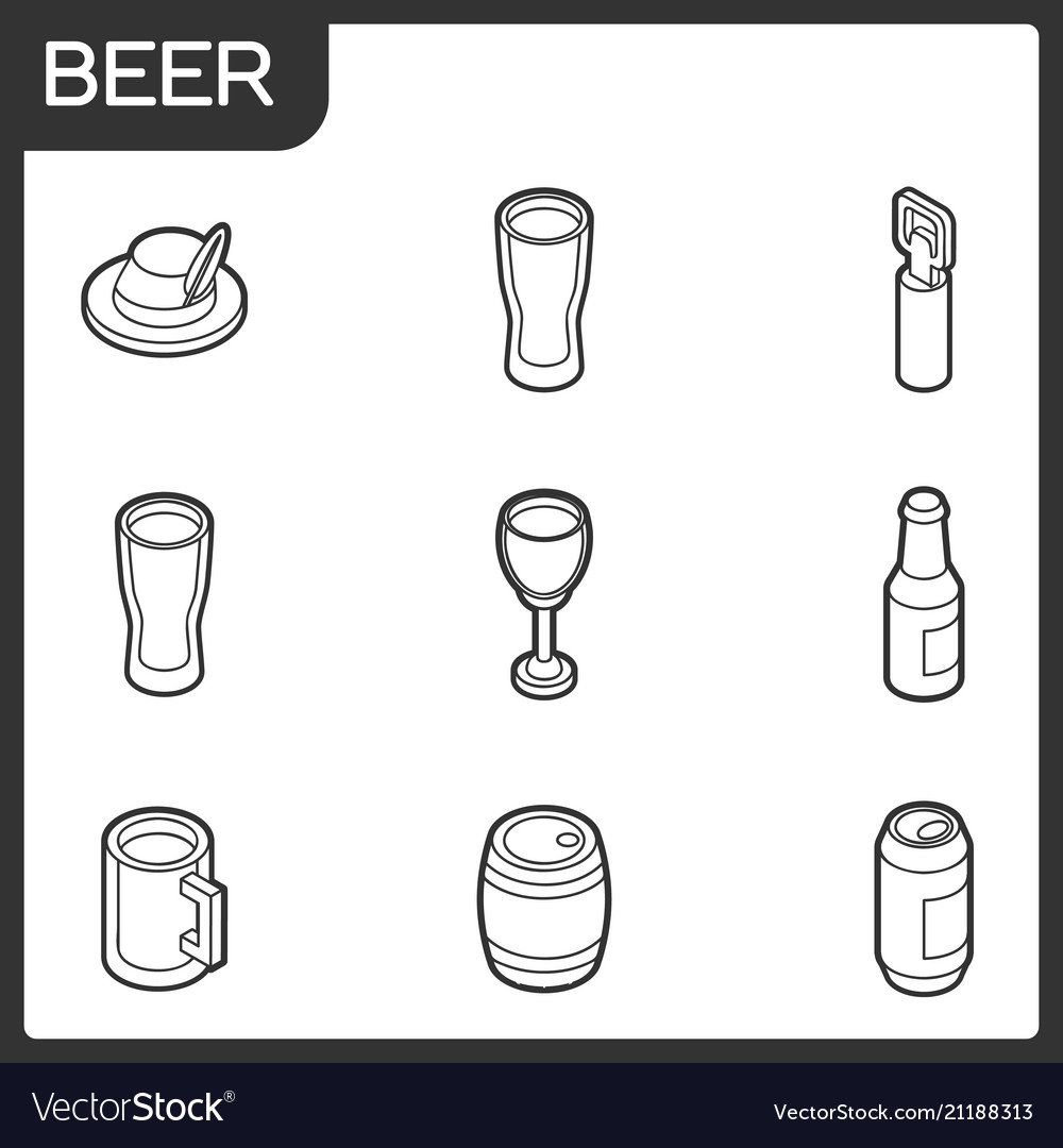 Beer outline isometric icons