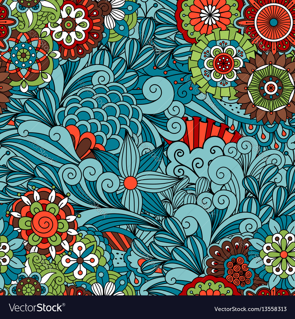 Blue floral and swirls decorative pattern