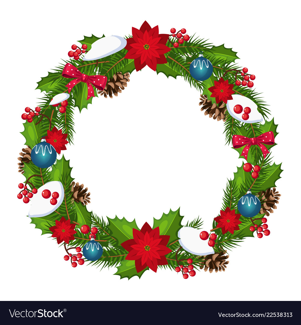 Christmas wreath with berries and decorations