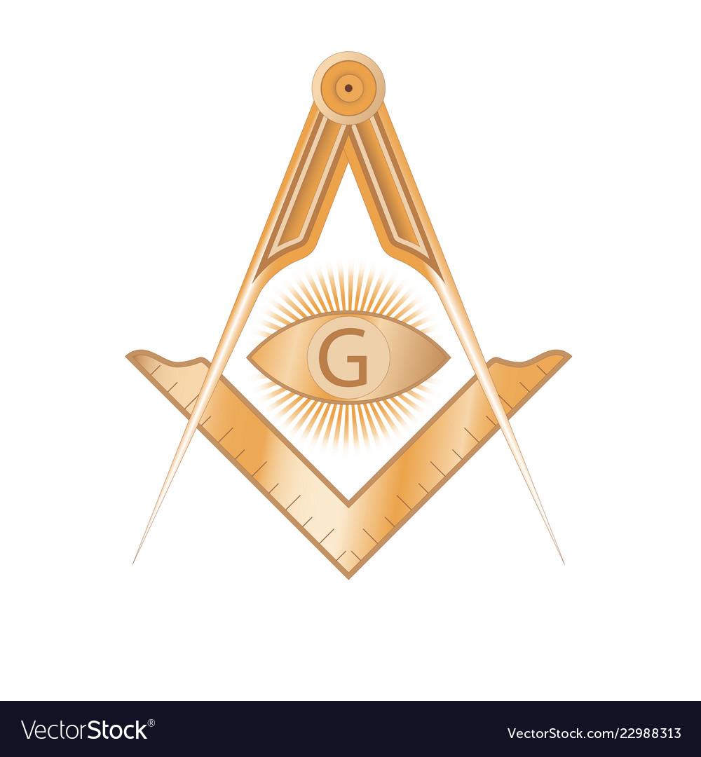 Copper masonic square and compass symbol