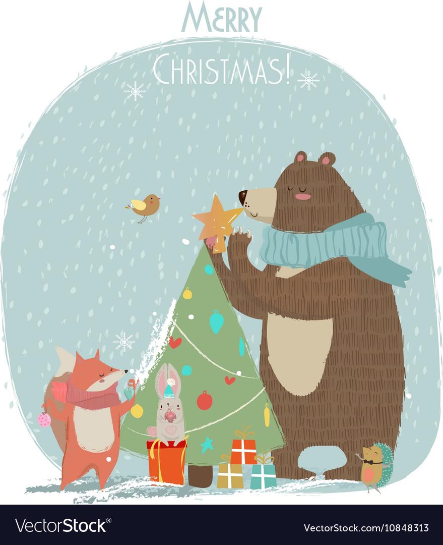 Cute bear hare and fox - Christmas card
