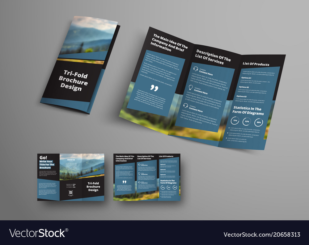 Design black triple folding brochure with