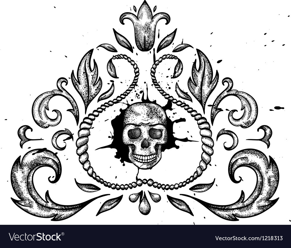 Design element with skull and leaves vector image