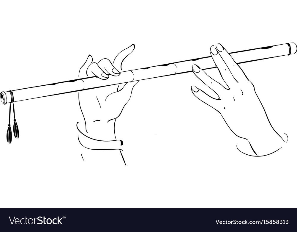Drawing of hands playing on flute lord krishna