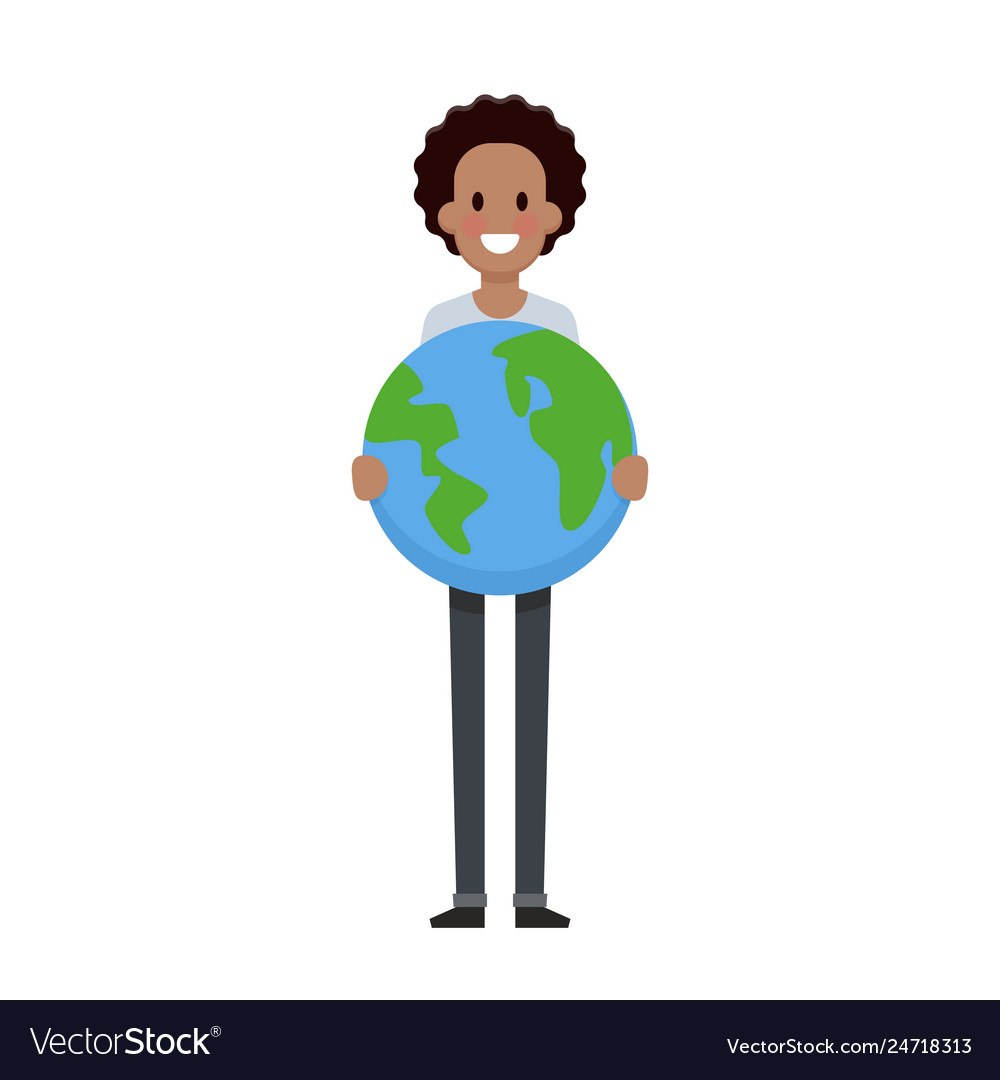 Man hold the earth flat design save planet concept