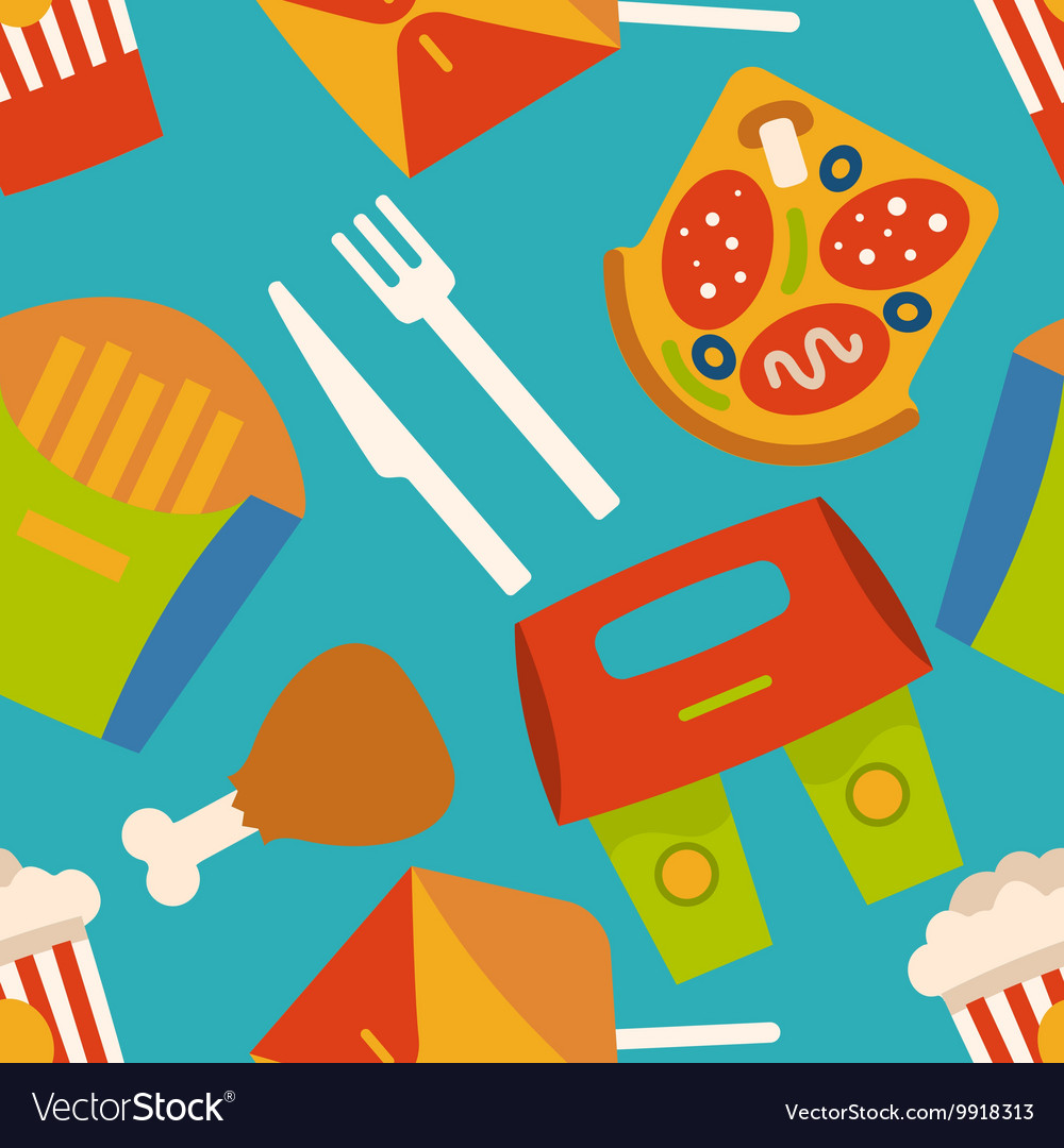 Menu Pattern With Fast Food Symbols Royalty Free Vector