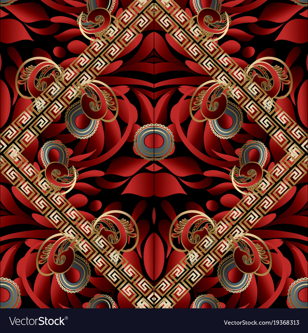 Modern paisley seamless pattern black red gold vector image