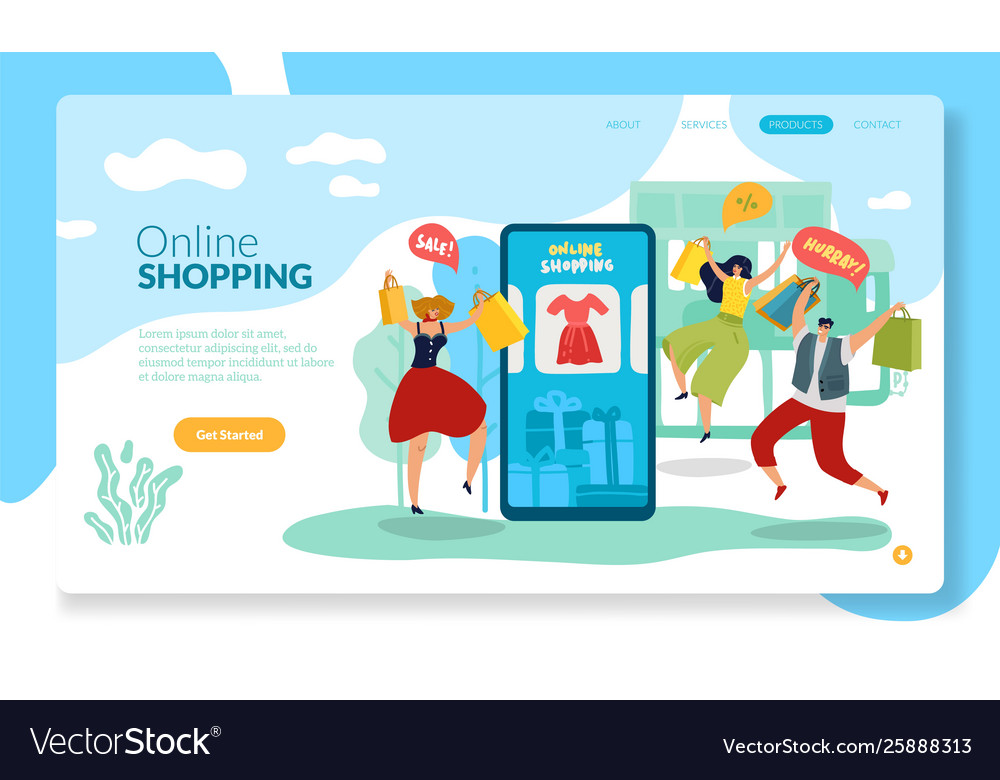 Online shopping page mobile shop with happy man