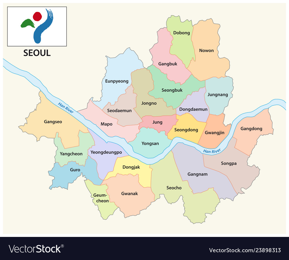 Seoul administrative and political map with flag