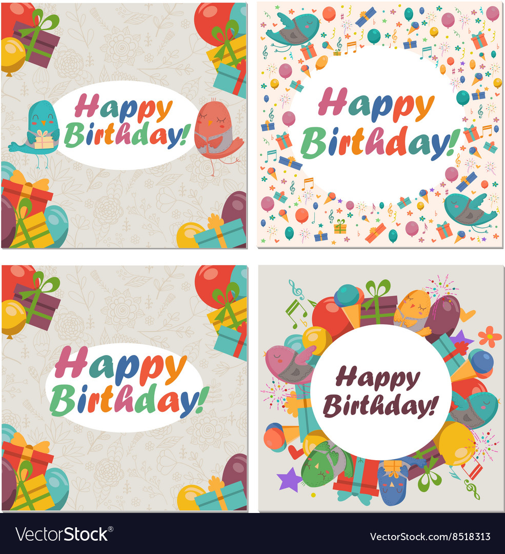 Set of Birthday card with cute birdsflowers and