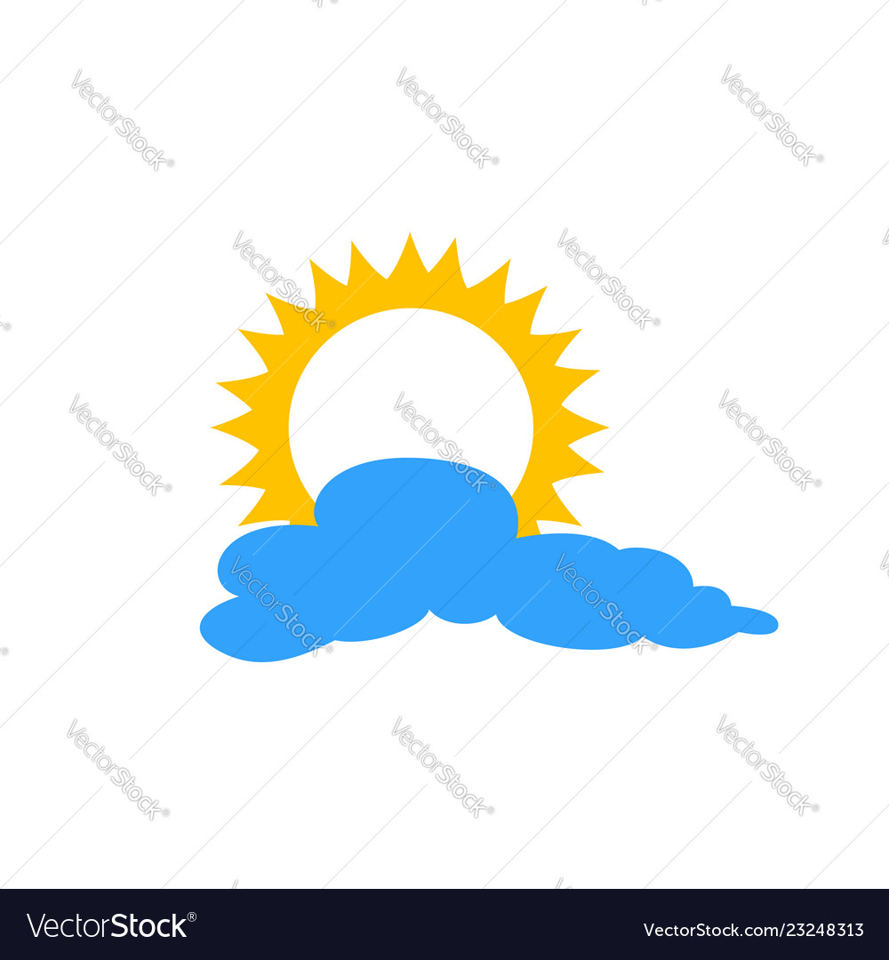 Sun and cloud flat icon isolated on blue