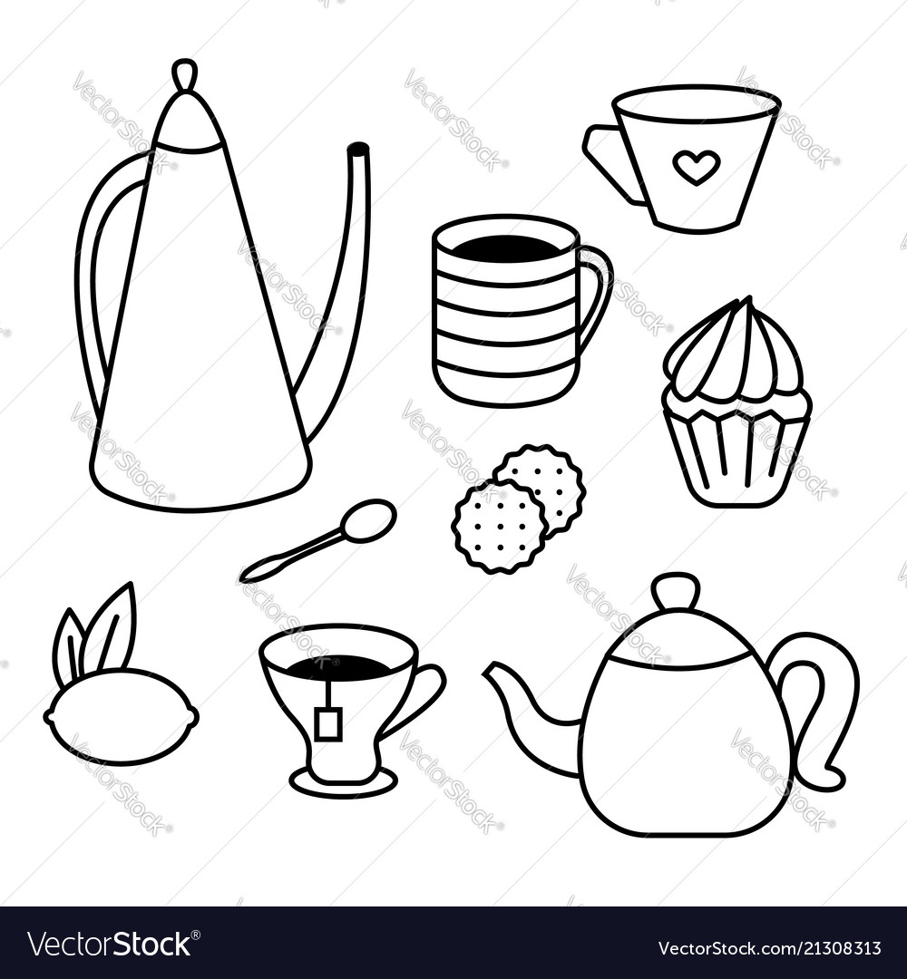 Tea time set of tea pots coffee cups cakes