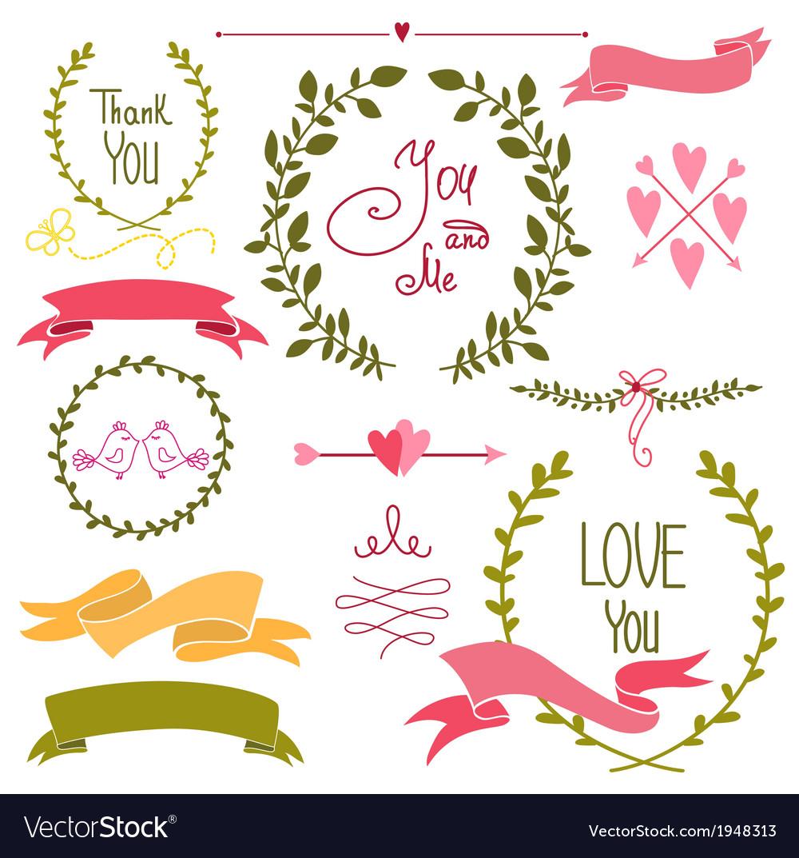 Wedding graphic set wreath flowers arrows vector image