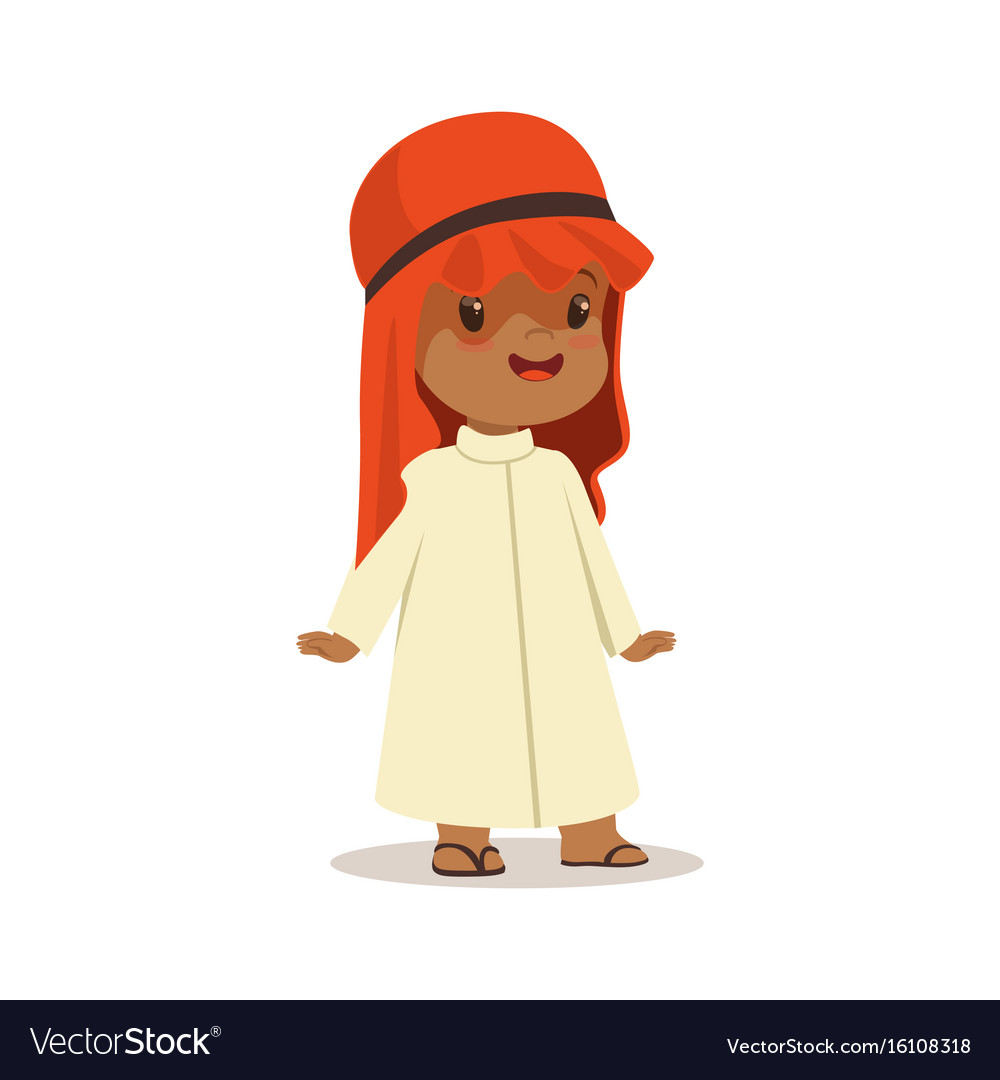 Boy wearing in white dress and red muslim