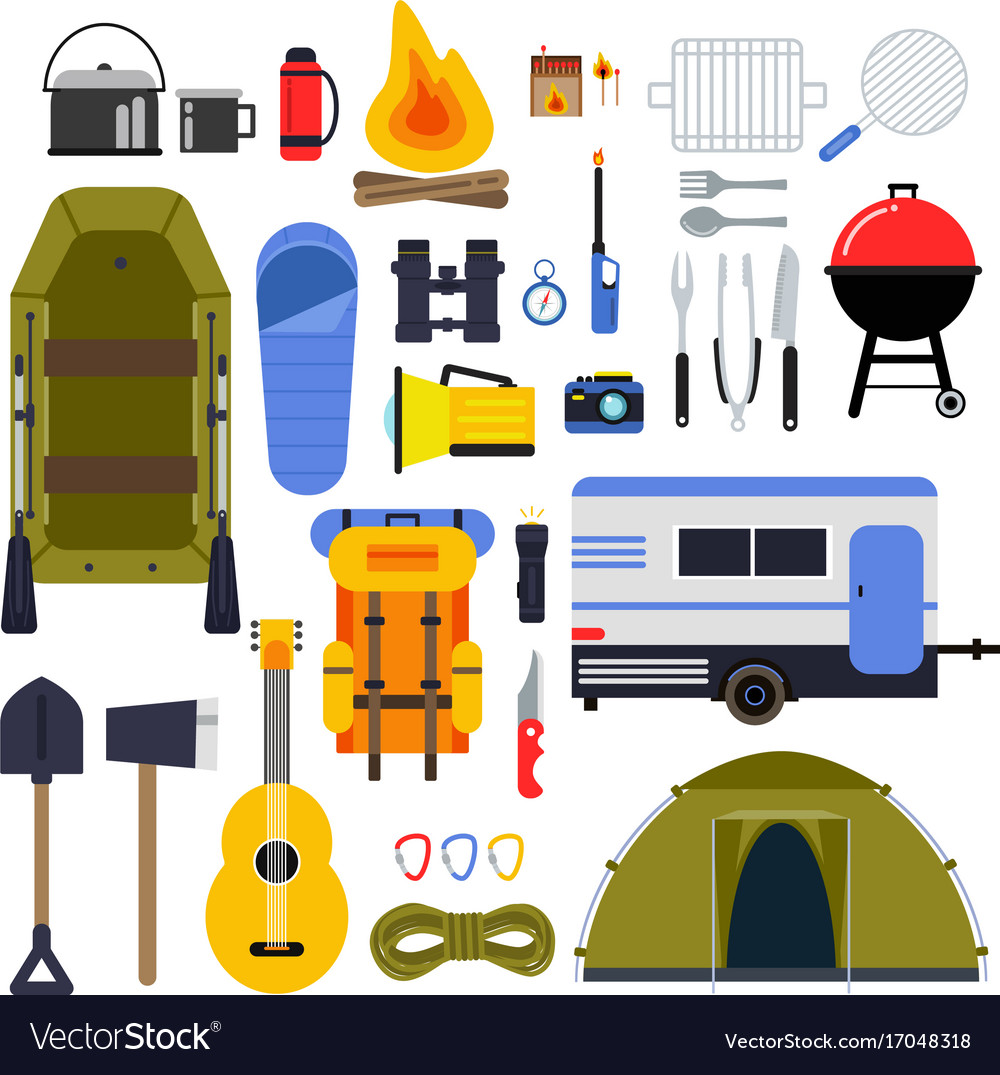 Camping equipment for travel hiking accessories Vector Image
