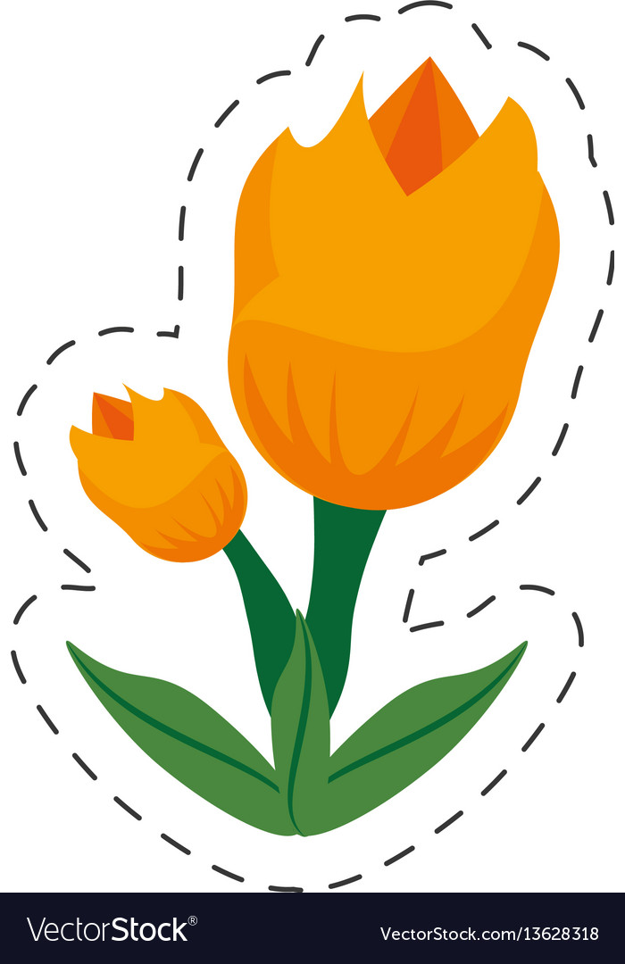 Cartoon tulip flower image