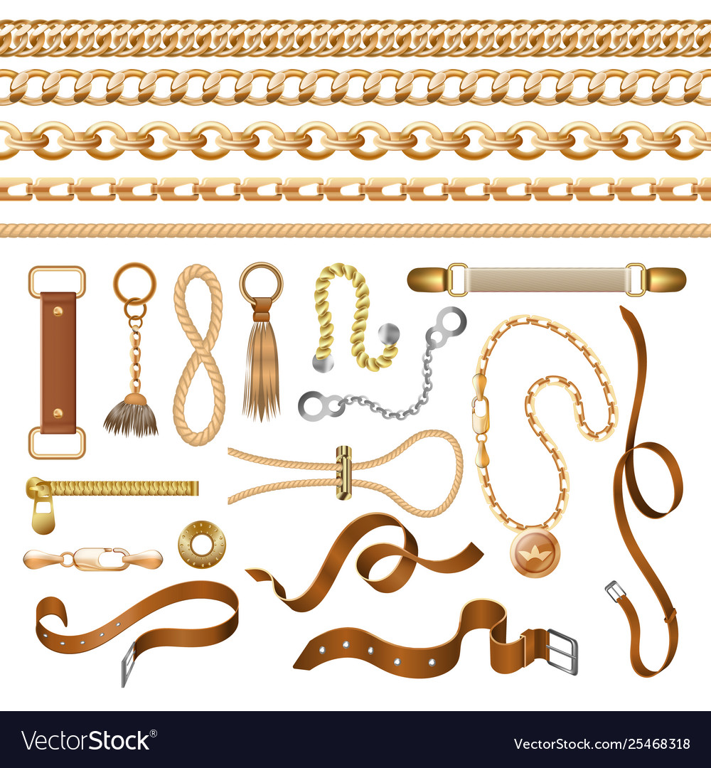 Chain and belt elements golden braid leather