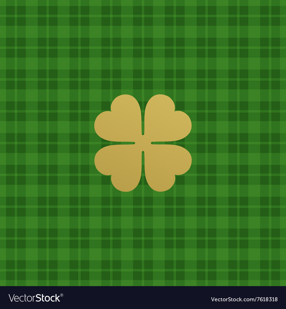Green checkered pattern with clover leaf vector image