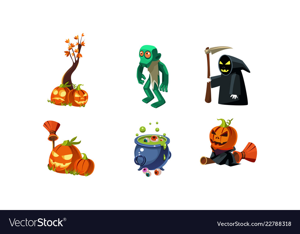 Halloween related objects and creatures set