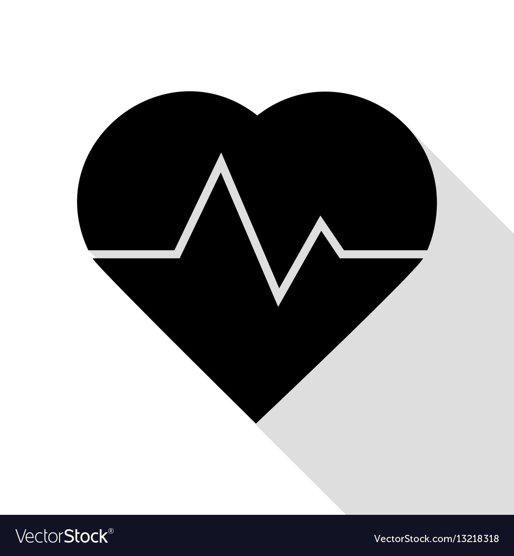 Heartbeat sign black icon with flat