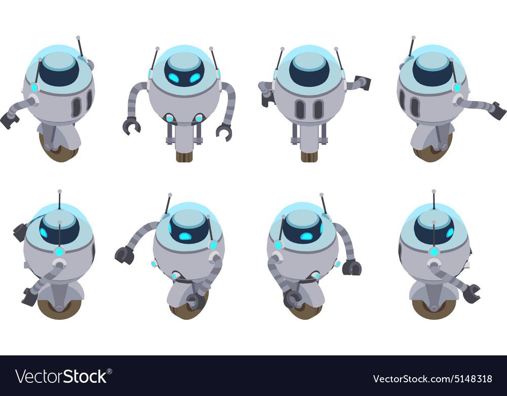 Isometric futuristic robot vector image