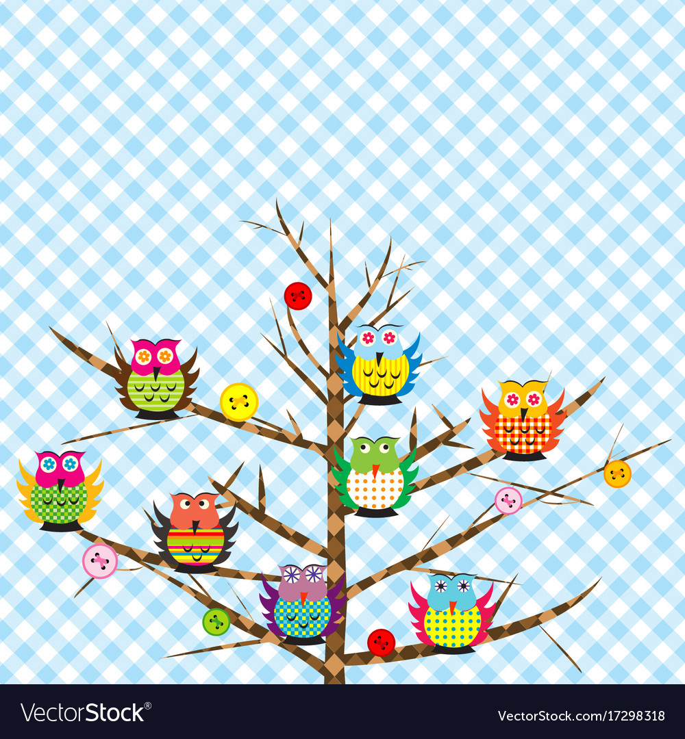 Patchwork with cartoon owls vector image