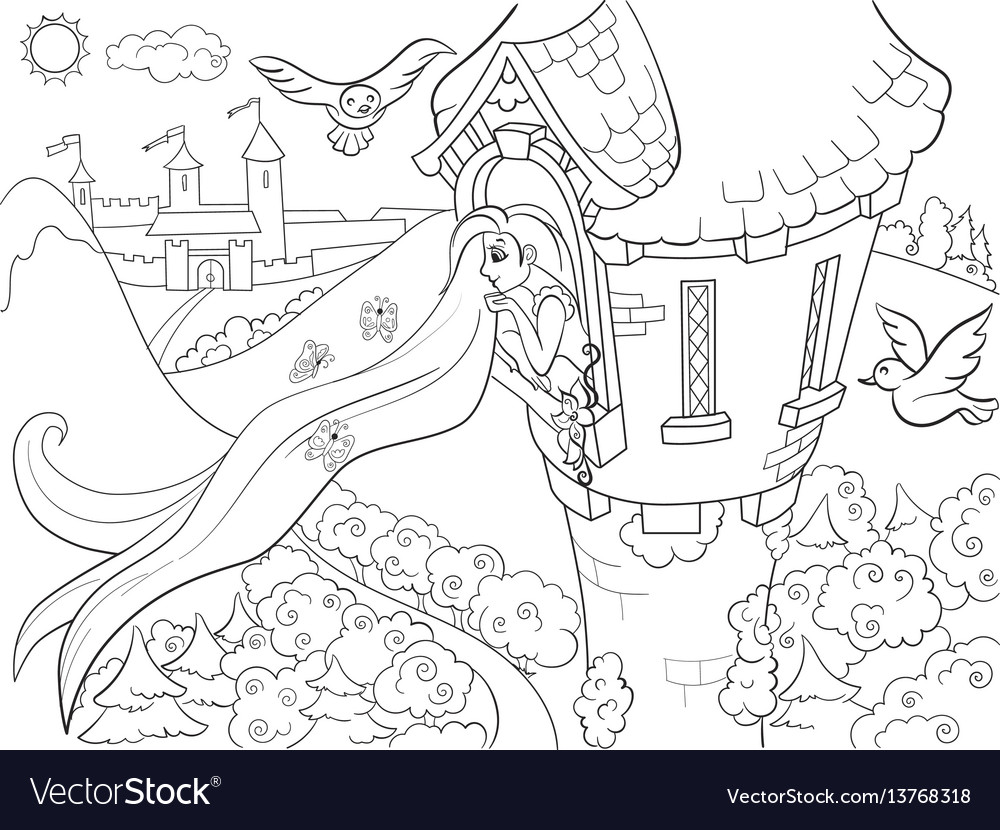Princess rapunzel in the stone tower coloring for