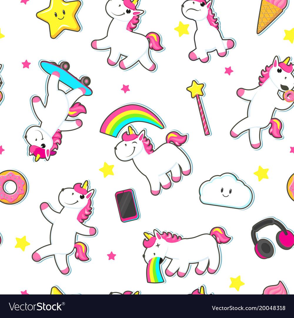 Seamless pattern with cute unicorn characters