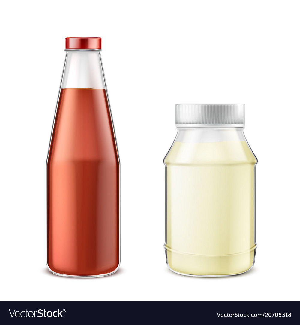 Set of bottles with ketchup and mayonnaise