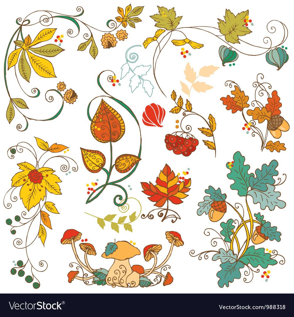 Set of decorative Autumn branches leaves