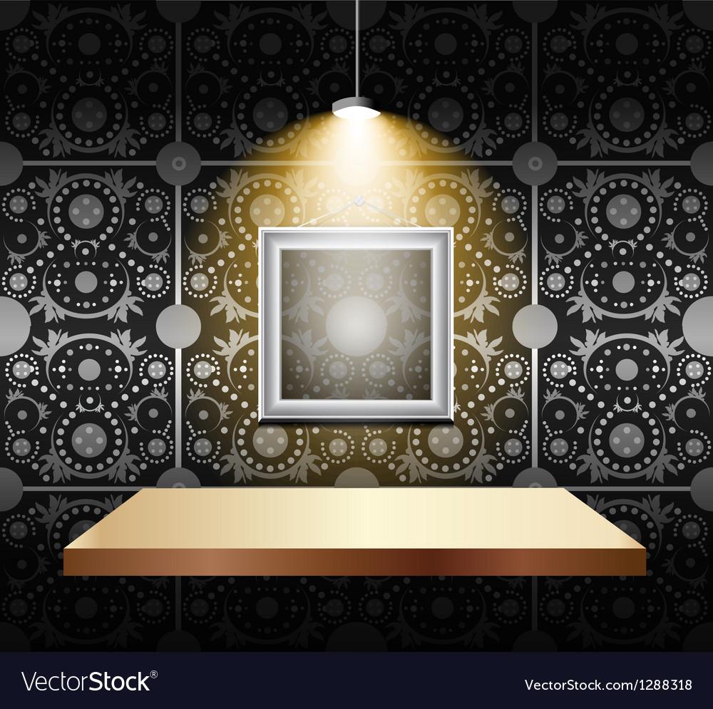 Shelf on luxury wallpaper vector image