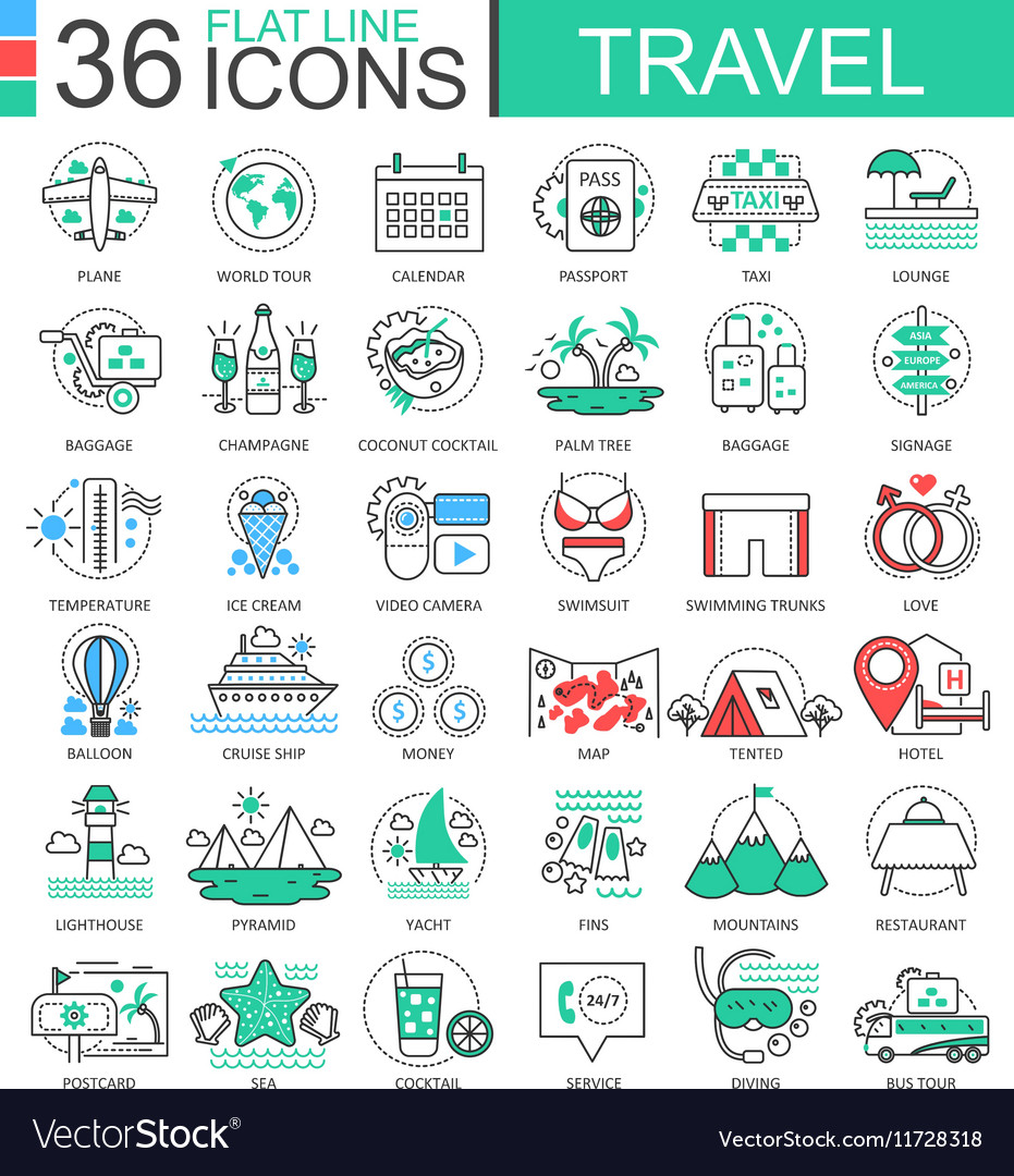 Travel color flat line outline icons for vector image