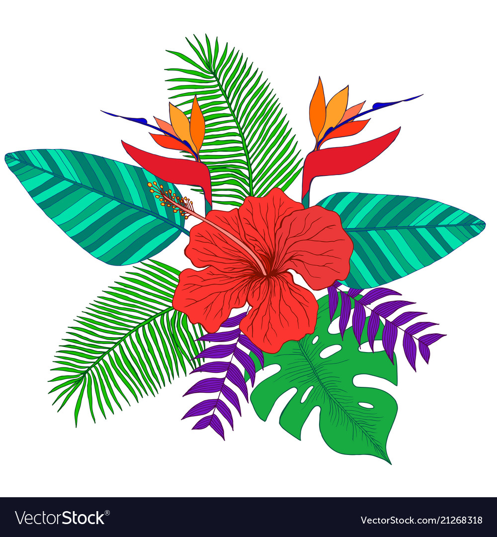 Tropical bouquet of palm leaves hibiscus flower