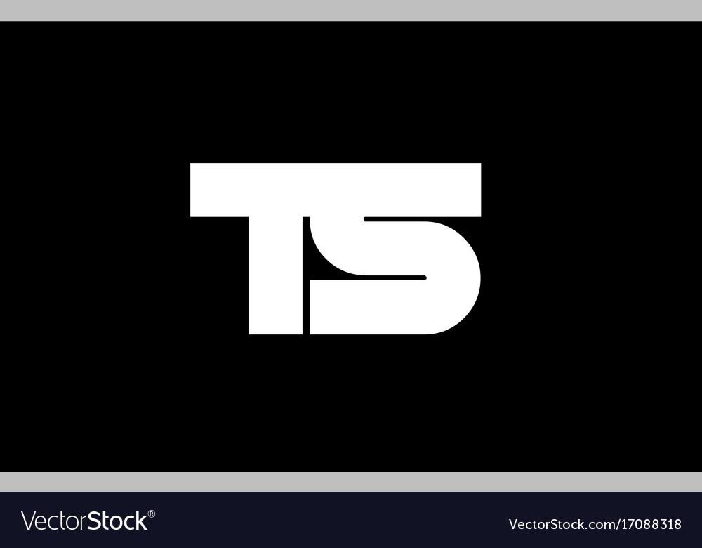 Ts t s black white boldpink blue joint letter logo vector image