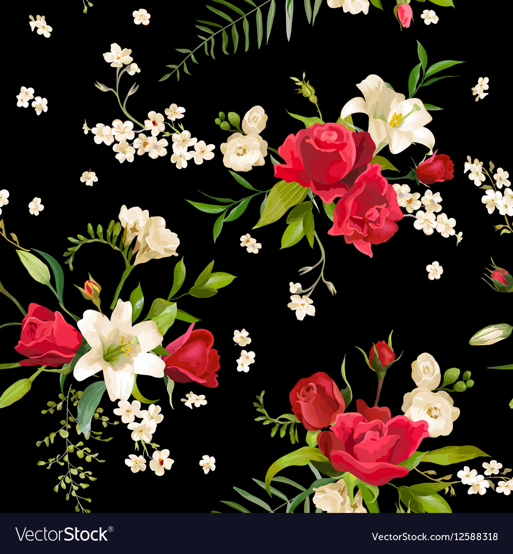 Vintage rose and lily flowers background spring vector image izmirmasajfo