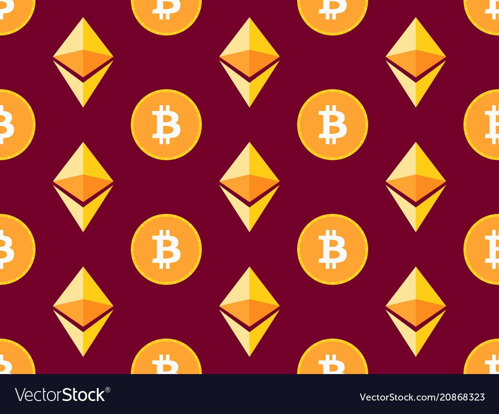 Bitcoin and etherium seamless pattern crypto