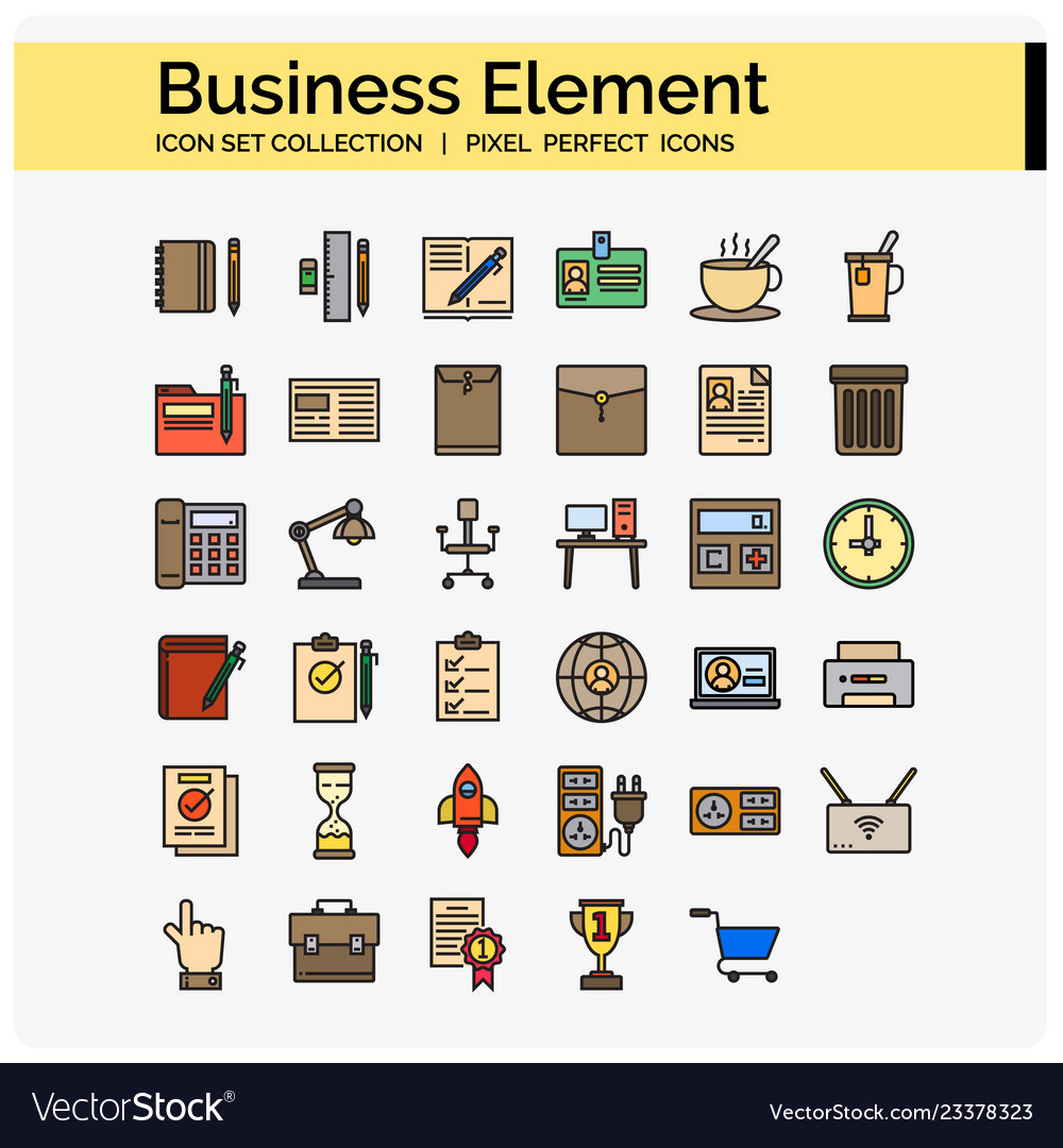 Business element icons color