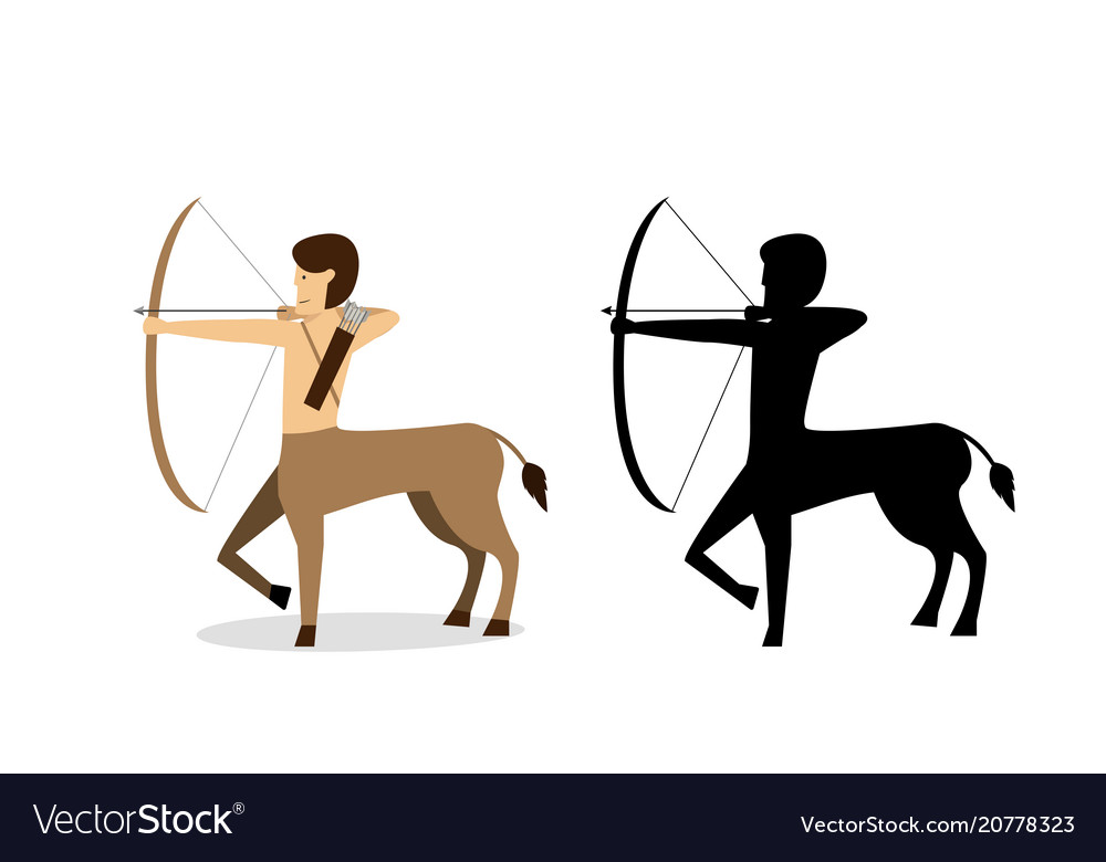 Centaur archer in flat and silhouette style