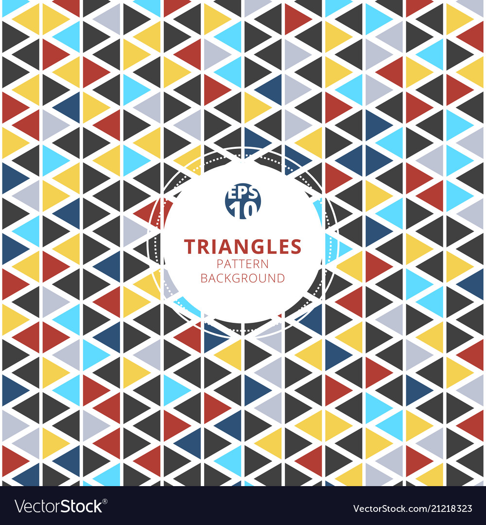 Colorful triangles pattern on white background