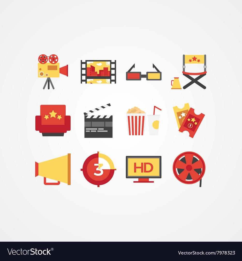 Creative movie and cinema icon set