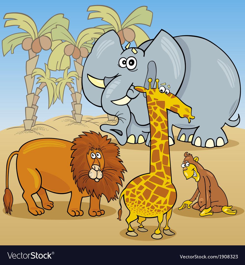 Cute african animals cartoon