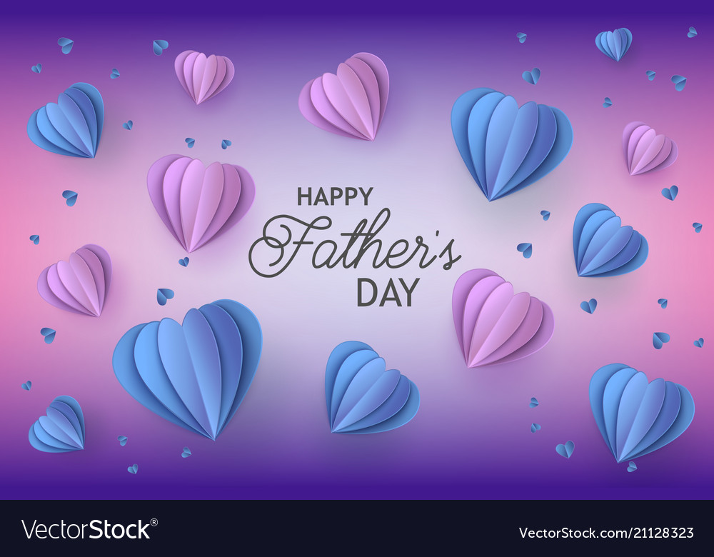 Happy father day papercut balloon poster