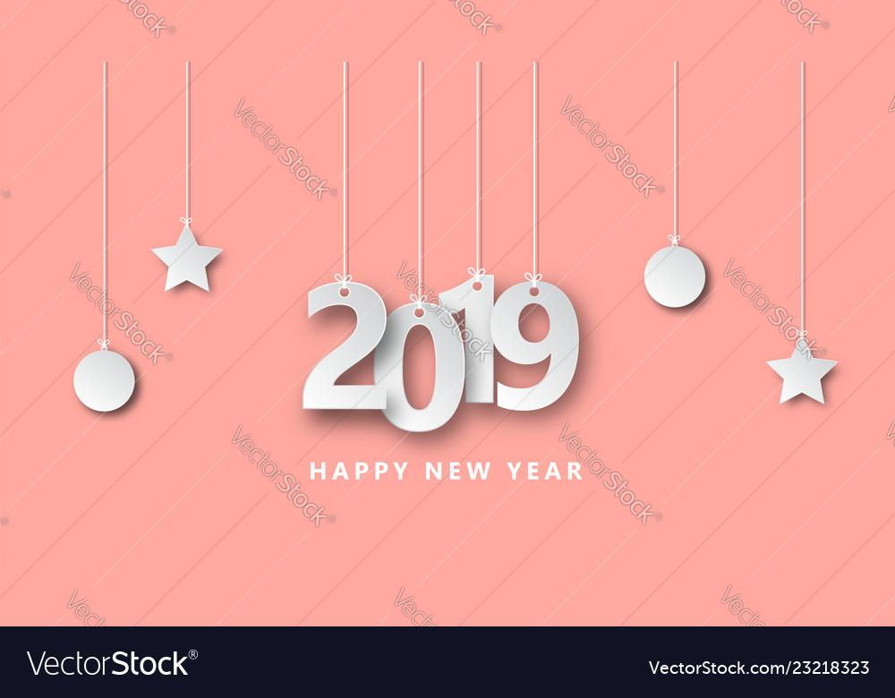 Happy new year 2019 creative design paper cut